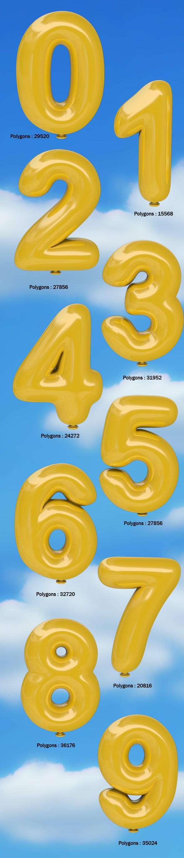 Balloon Numbers 0 - 9 - 3DOcean Item for Sale