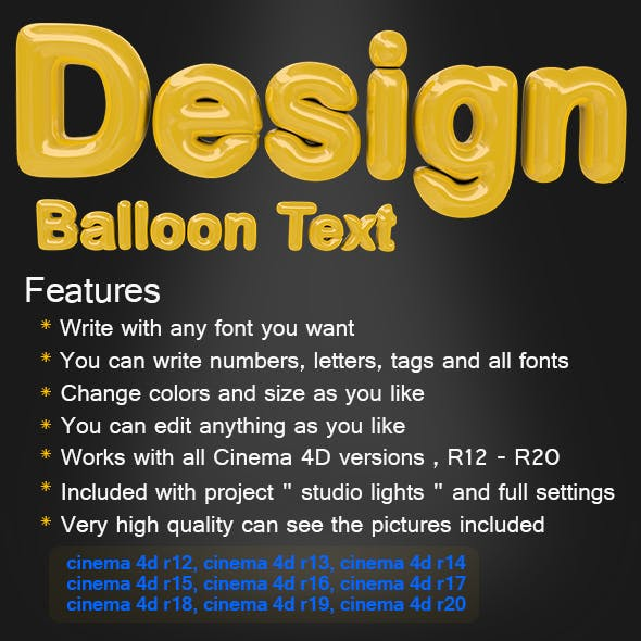 Balloon Text - 3DOcean Item for Sale