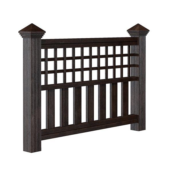 Dark Wooden Fence 3D Model - 3DOcean Item for Sale