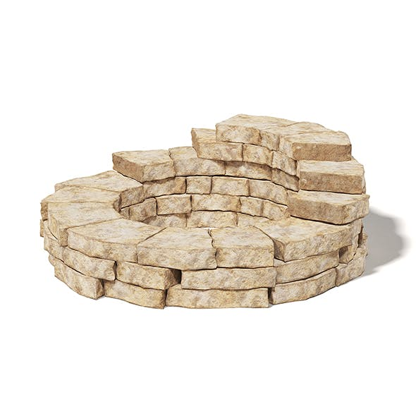 Round Stone Wall 3D Model - 3DOcean Item for Sale