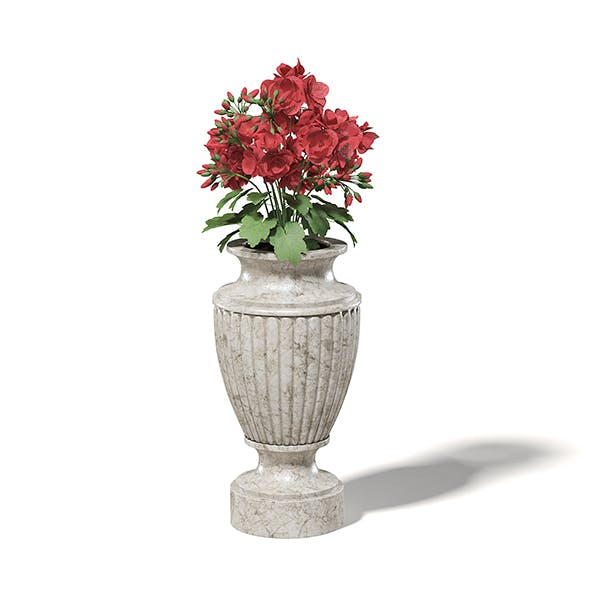 Stone Vase with Flowers 3D Model