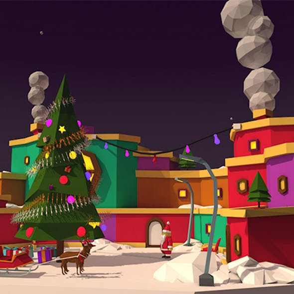 Cartoon Low Poly Christmas Island Winter Asset