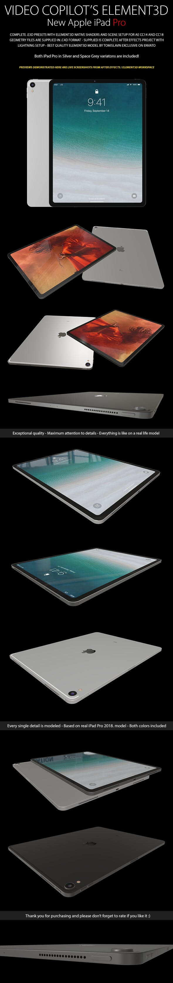 Element3D - iPad Pro - 3DOcean Item for Sale