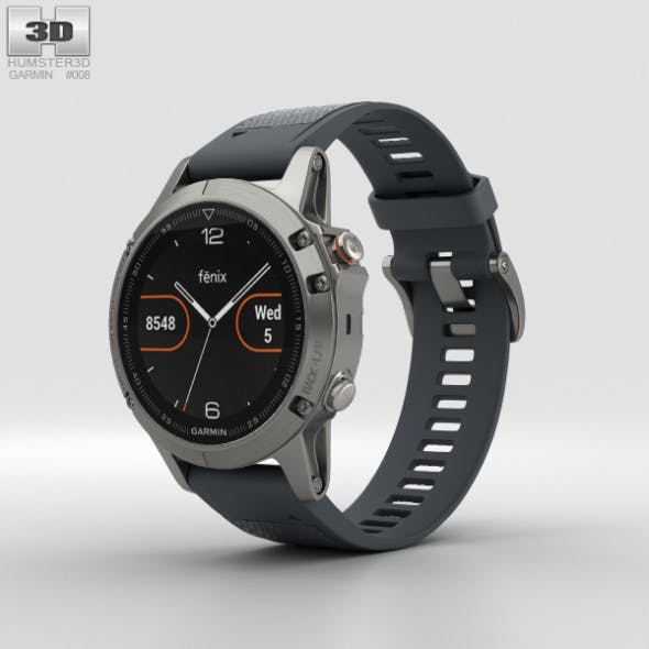 Garmin Fenix 5 Silver with Granite Blue Band - 3DOcean Item for Sale