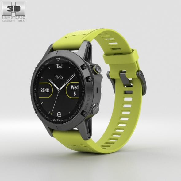 Garmin Fenix 5 Slate Gray with Amp Yellow Band - 3DOcean Item for Sale