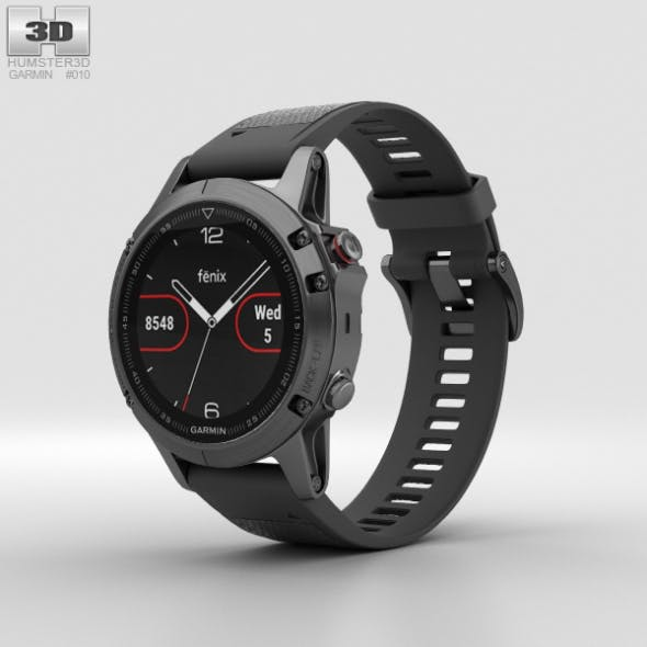 Garmin Fenix 5 Slate Gray with Black Band - 3DOcean Item for Sale