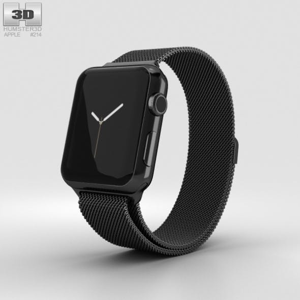 Apple Watch Series 2 38mm Space Black Stainless Steel Case Black Milanese Loop - 3DOcean Item for Sale