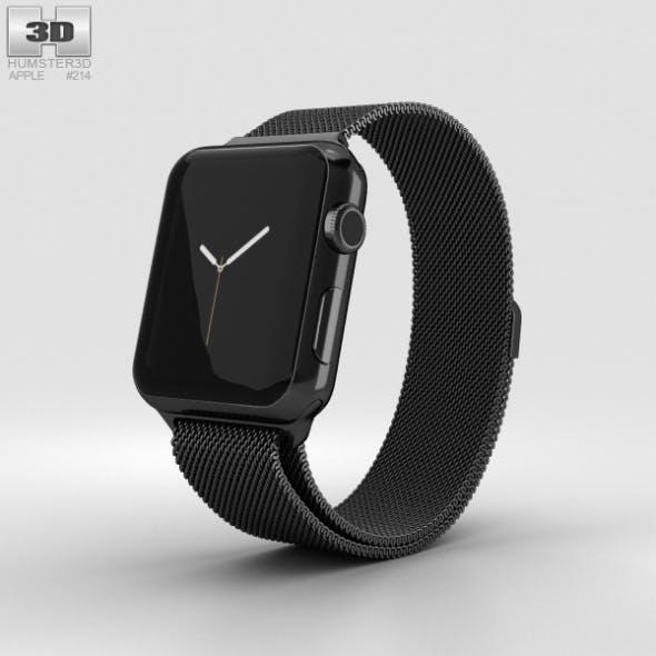 Apple Watch Series 2 38mm Space Black Stainless Steel Case Black Milanese Loop