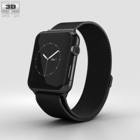 Apple Watch Series 2 42mm Space Black Stainless Steel Case Black Milanese Loop - 3DOcean Item for Sale