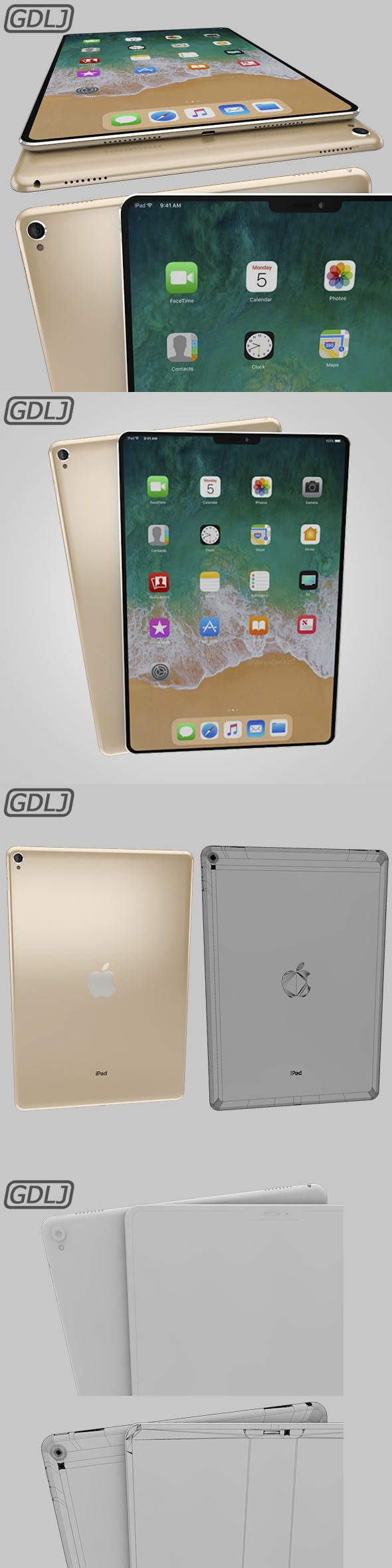 iPad Pro X Gold - 3DOcean Item for Sale