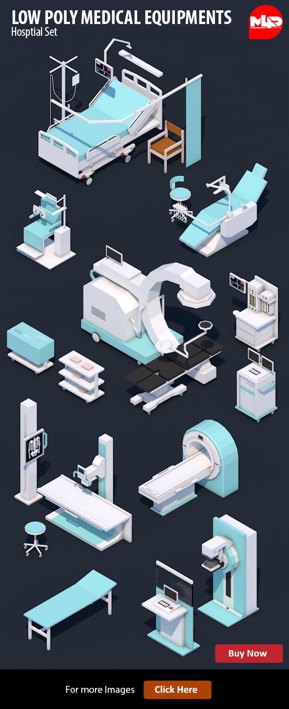 Low Poly Hospital Set - Medical Equipments - 3DOcean Item for Sale