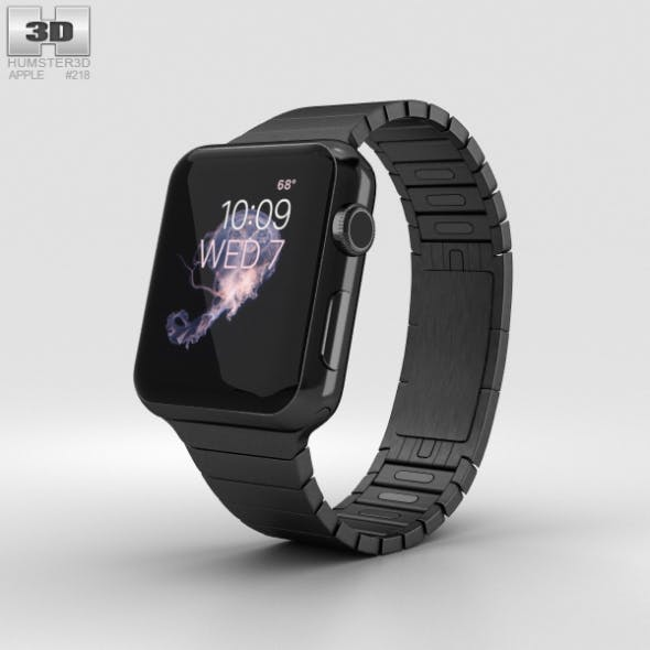 Apple Watch Series 2 38mm Stainless Steel Case Black Link Bracelet - 3DOcean Item for Sale