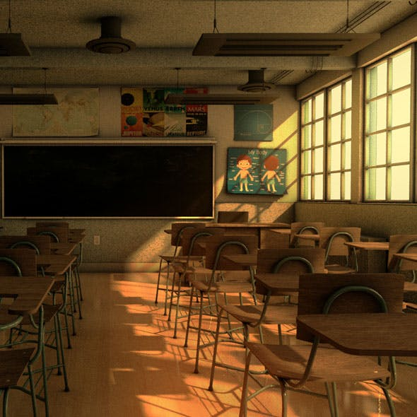 School Classroom - 3DOcean Item for Sale