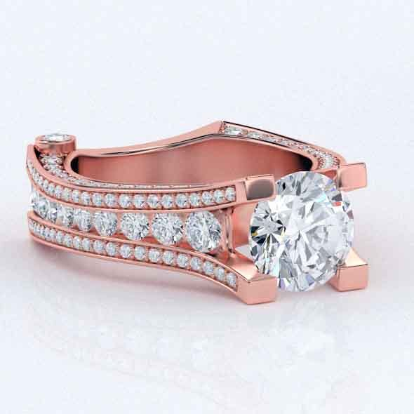 3D Rose gold Ring Elegant