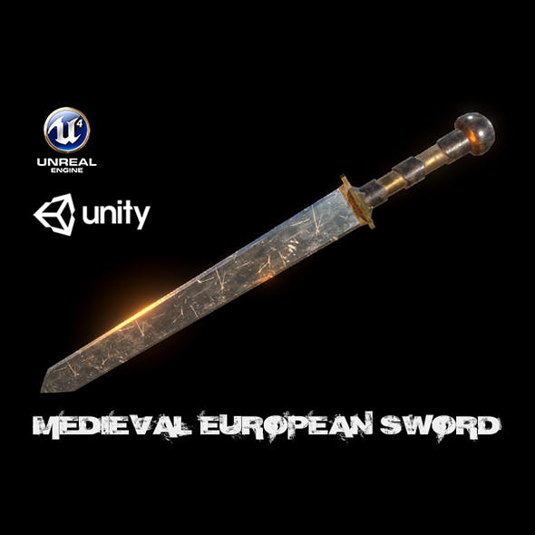 Realistic Low Poly Scratched Sword