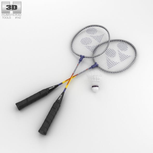 Badminton Racket and Shuttlecock - 3DOcean Item for Sale