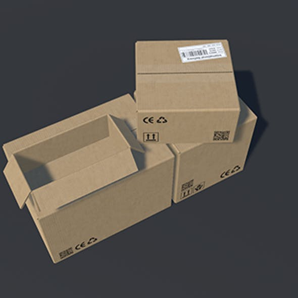 PBR Cardboard Boxes Animated And Destructible
