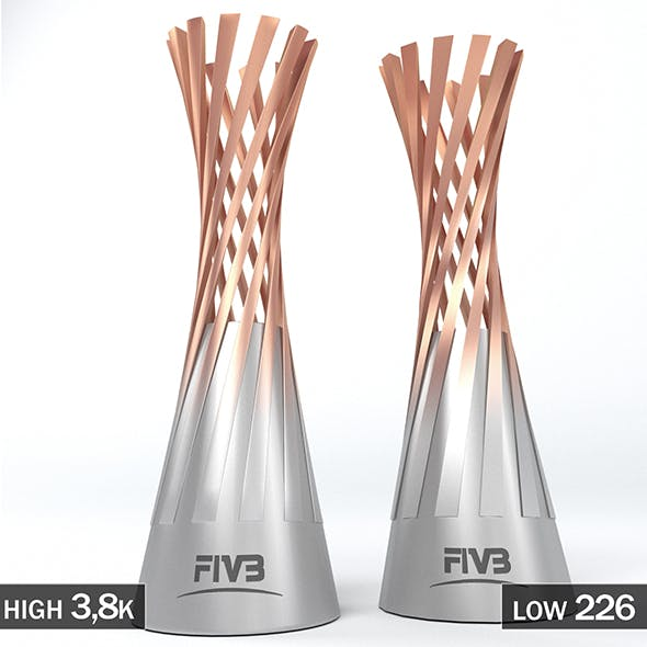 Volleyball World Championship Women Cup Trophy Low poly