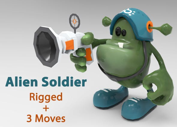 Low Poly Alien Soldier Cartoon Character - Rigged & Animated - 3DOcean Item for Sale