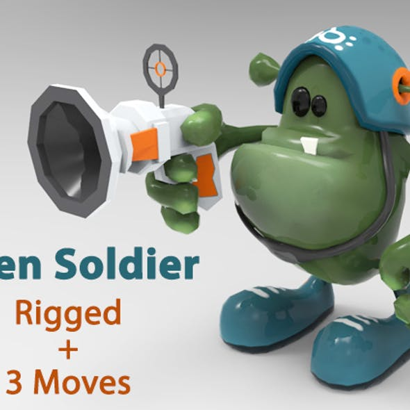 Low Poly Alien Soldier Cartoon Character - Rigged & Animated