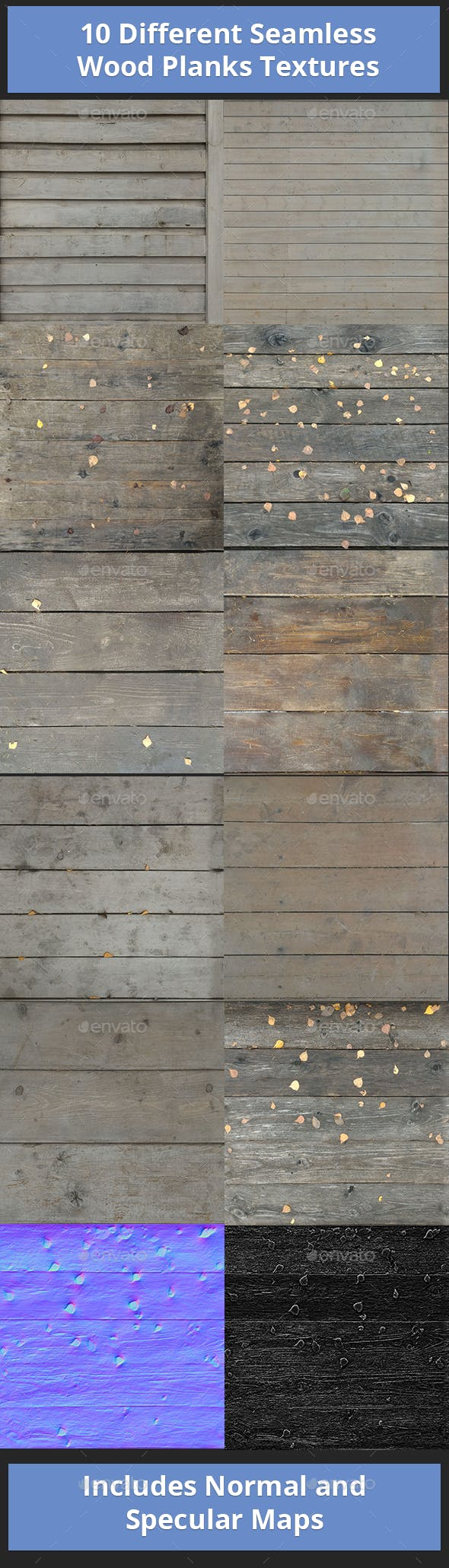 10 Different Seamless Wood Planks Textures - 3DOcean Item for Sale