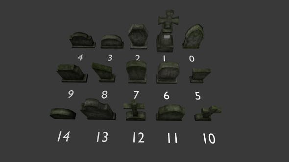 Tomb stone graveyard  collection model pack 1 - 3DOcean Item for Sale