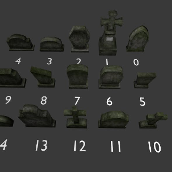 Tomb stone graveyard  collection model pack 1