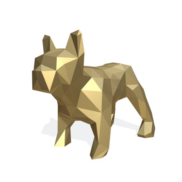 bulldog figure low poly