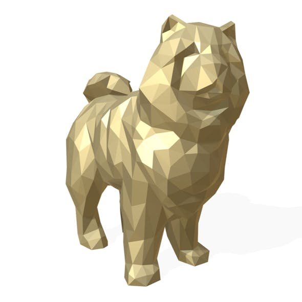 Chowchow dog figure low poly - 3DOcean Item for Sale