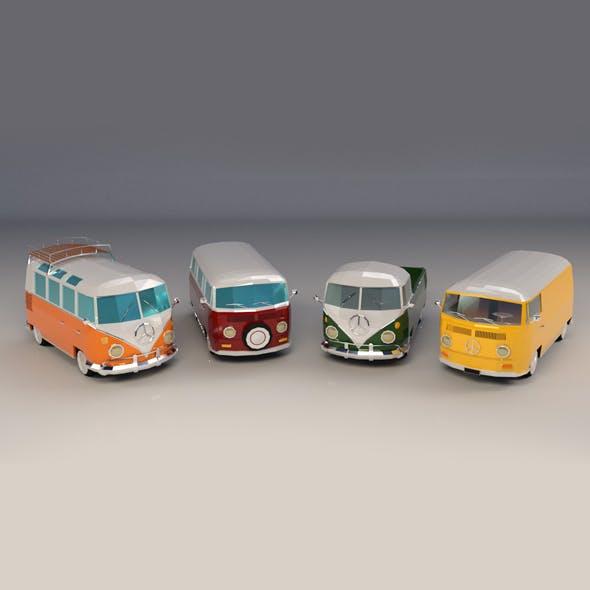 Low-Poly Cartoon Camper Van Pack - 3DOcean Item for Sale