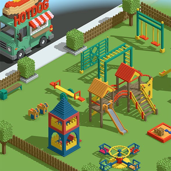 Voxel Kids Playground Games