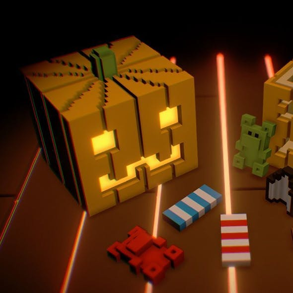 Voxel Pumpkins and Sweets