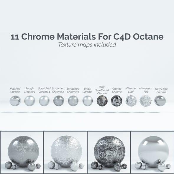 11 Chrome Materials for C4D Octane render - 3DOcean Item for Sale