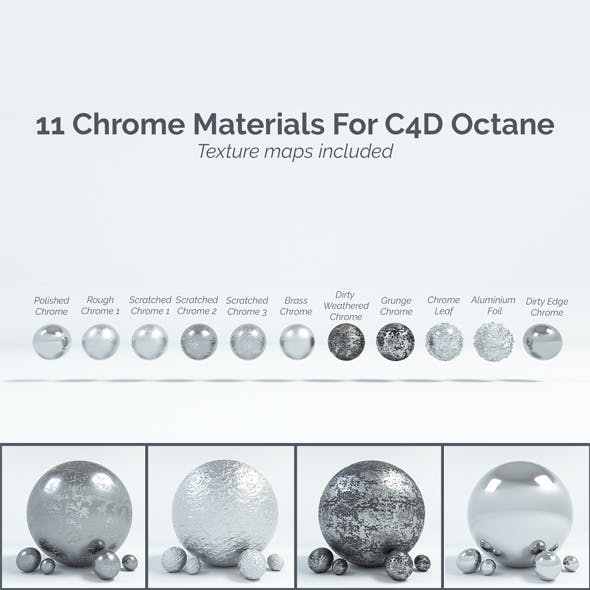 11 Chrome Materials for C4D Octane render
