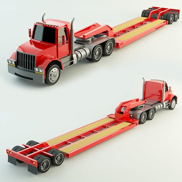 Low Poly Lowboy Trailer & Truck
