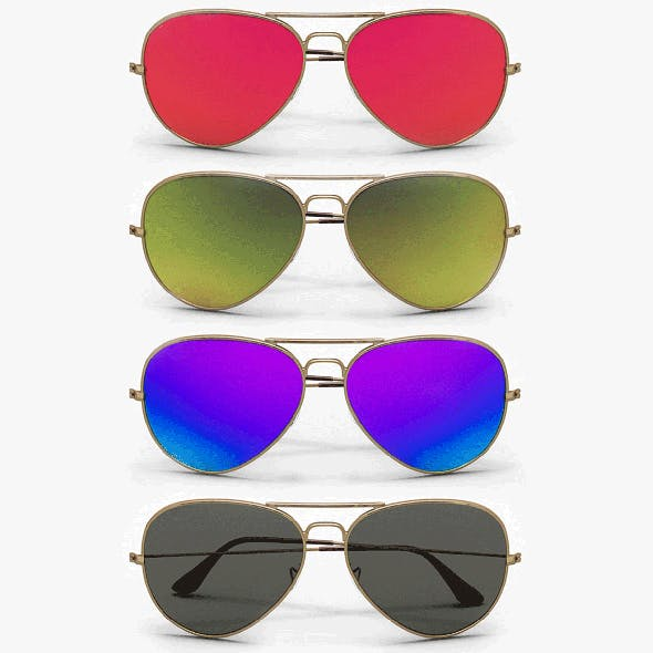 Colored Aviator Sunglasses model - 3DOcean Item for Sale