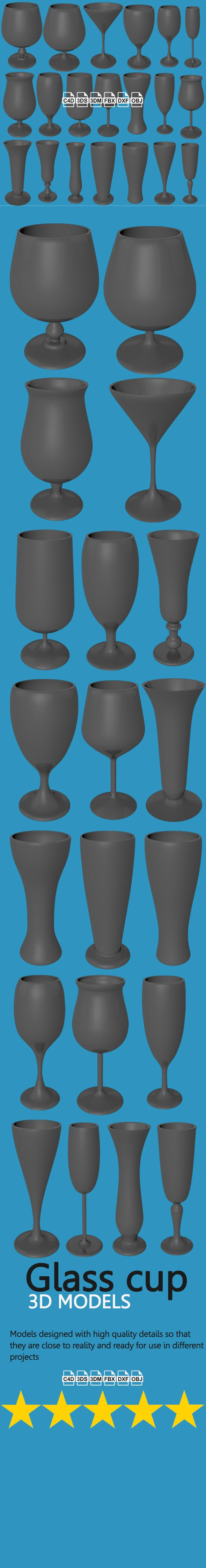 20 Glass Cups - 3DOcean Item for Sale