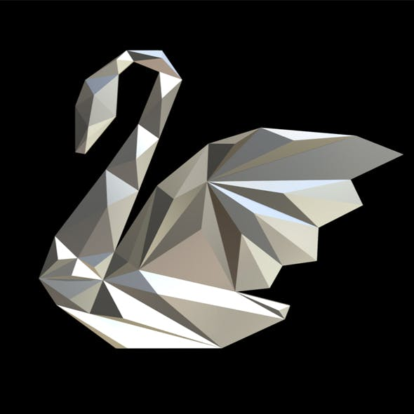 swan figure low poly