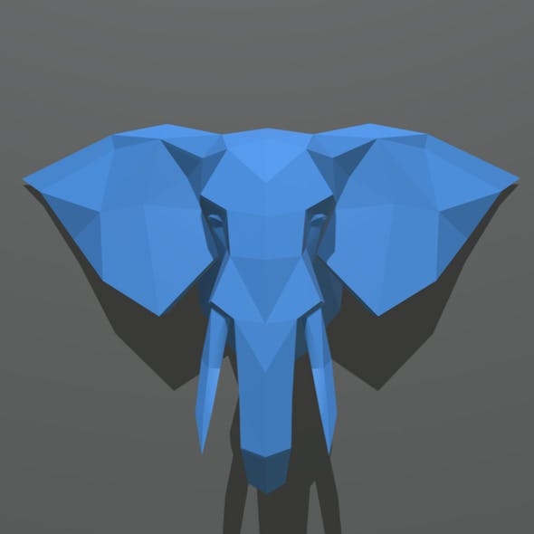 elephant figure low poly