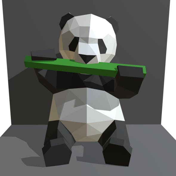 panda figure low poly