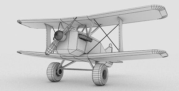 Toy Stylized Biplane - 3DOcean Item for Sale