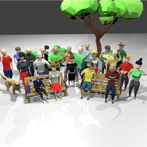 Low poly people scenes kit 3D - 3DOcean Item for Sale