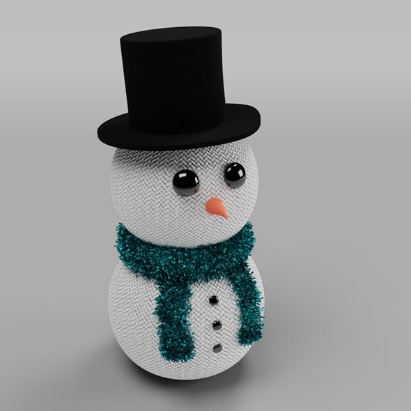 Knitted Snowman Christmas Decoration - 3DOcean Item for Sale