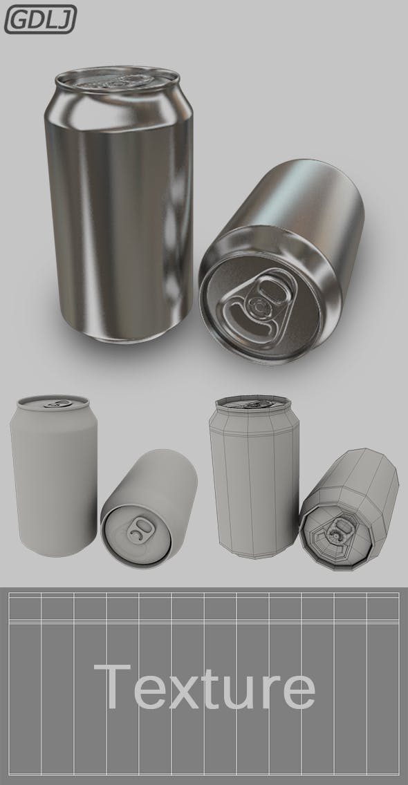 Soda Can [ Low Poly & High Poly ] - 3DOcean Item for Sale