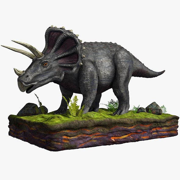 Gray Tricaratops - 3DOcean Item for Sale