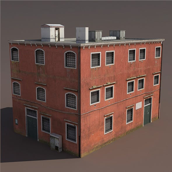 Prison Building Low Poly 3d Model