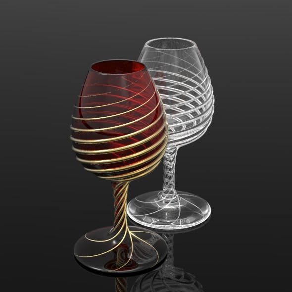 Spiralling Wine Glass - 3DOcean Item for Sale