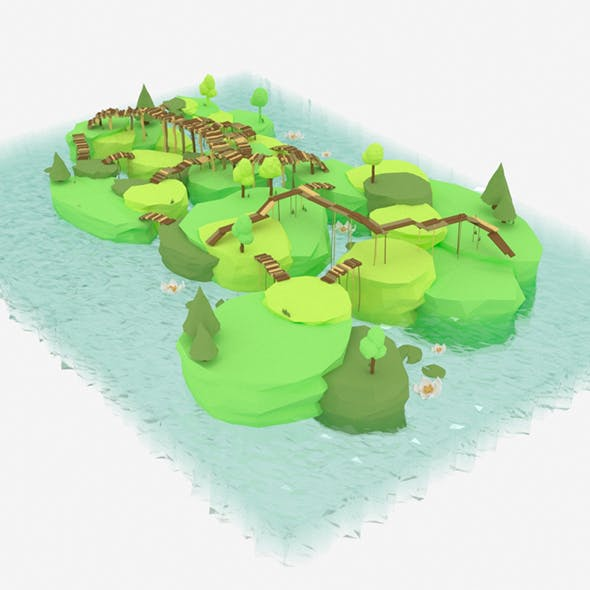 Low Poly Swamp Island with Bridges - 3DOcean Item for Sale