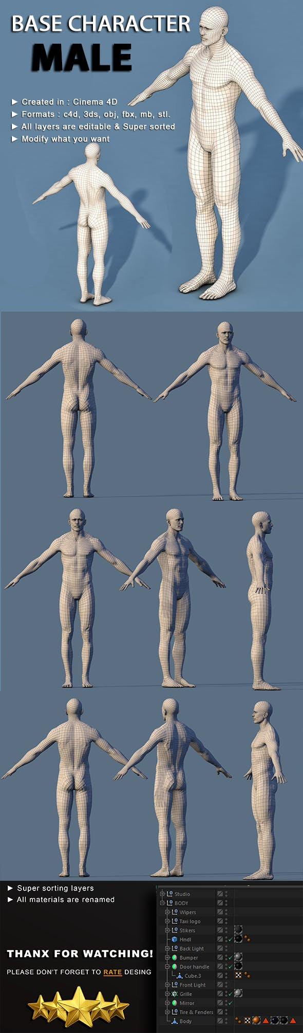 Low Poly Base Character Male - 3DOcean Item for Sale