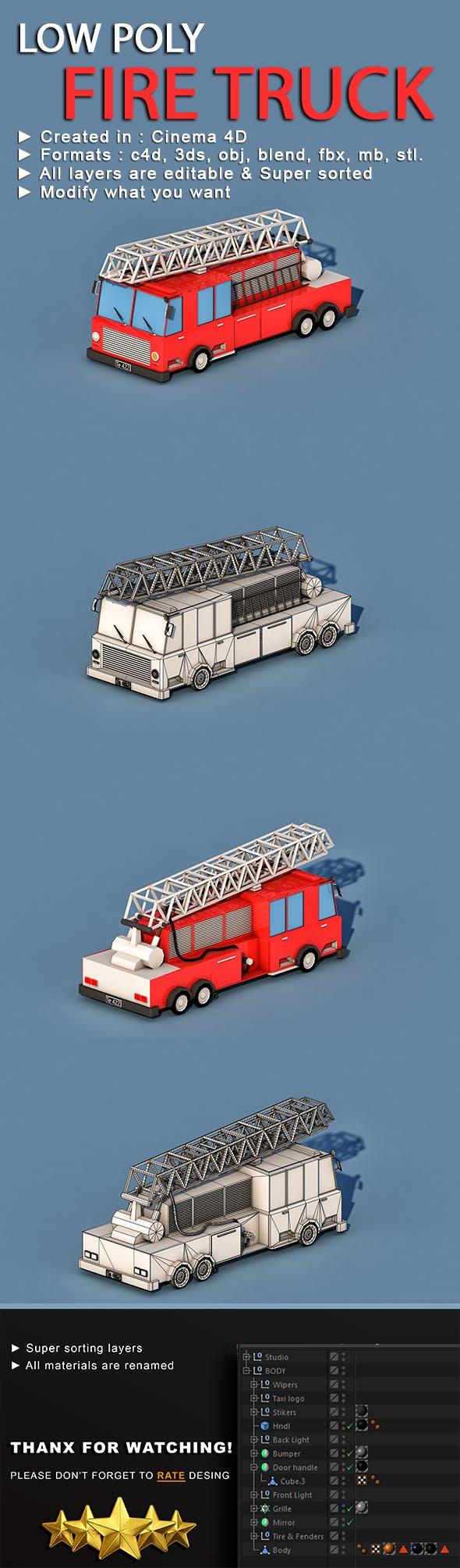 Cartoon Fire Truck - 3DOcean Item for Sale